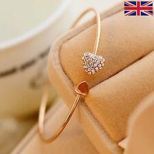New Women Fashion Rhinestone Double Hearts Gold Opening Bangle Bracelet