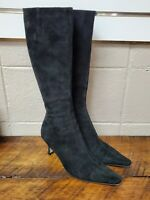 Saks Fifth Avenue Black Suede Tall Boots EUC Size 7 B