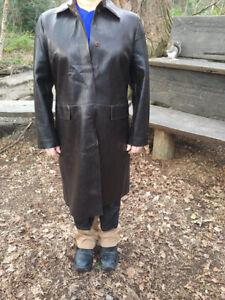 NEXT Petite Ladies Faux Leather Box Jacket – UK14/EU42 Oak Brown - USED