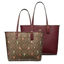 Coach F80246 Reversible City Tote Party Animals Signature - Dark Berry $350 NWT