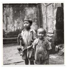 PHOTO ANCIENNE ANGKOR VAT WAT Temple Asia Cambodia Ruins Cambodge 1960 Portrait