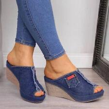 Ladies Womens Slip On Mules Platform Espadrilles Wedge Summer Sandals Shoes Size