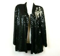 Stenay Womens Cardigan Kimono 100% Silk Beaded Black Sparkle Size Small Vintage