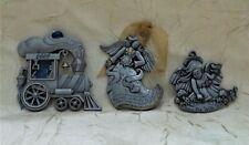 Three Pewter Christmas Ornaments Gloria Duchin 2009 Train & Two Angels