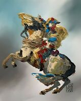 Abstract Portrait Napoleon Crossing Alps Painting Knife Fine Wall Art Print