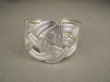 """Silver tone rope knot knotted metal bangle cuff 1 5/8"""" wide bracelet cutout"""