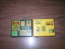 United Airlines 1945 Airmail Tags, Air Mail Par Avion Tags 2 Wood Boxes Stamps