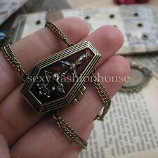 Vintage Antiqued Brass Goth Coffin Locket Vampire Bat Crown Cross Bracelet Punk