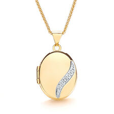 "Diamond Oval Locket Yellow Gold 18"" Chain Hallmarked"