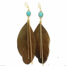 "New Brown Feather Earrings Gold Plated Women Pierced 4"" Shoulder Dusters"