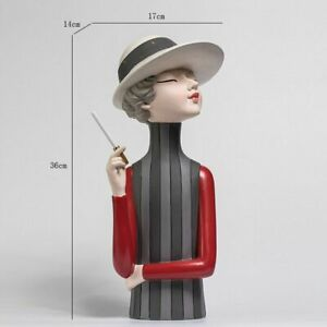Girl Sculpture Nordic Resin Statue Living Bedroom Home Decoration Figurine Gifts