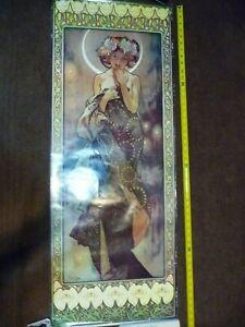 "Alphonse Mucha Etoile De La Lune Poster by Athena England 47.5"" c.1973 Numbered"