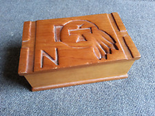 Vintage BSA Thunderbird Indian Feathers Design Boy Scout Camp Carved Box project