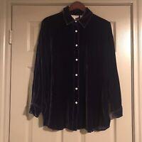 Soft Surroundings Purple Silk Velvet Button Down Top Size Medium Womens