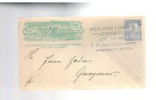 1898 Hermosillo Mexico Wells Fargo Express Mail Cover to Guaymas 5 Centavos