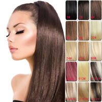 Real Human Hair Ponytail Remy Silky Straight Clip In Extensions Wrap Around