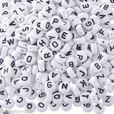 """520 Gift Mixed Acrylic Alphabet """"A-Z"""" Round Spacer Beads 7mm"""