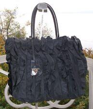 6a0c2f695732 Authentic PRADA Tessuto Nylon Ruffle   Leather Tote Handbag Bag BN1728