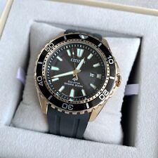 Citizen Marine Diver Watch * Eco-Drive BN0193-17E Gold Case Black Rubber Strap