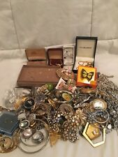 Vintage Jewelry Lot Rhinestones Sterling Gold & More