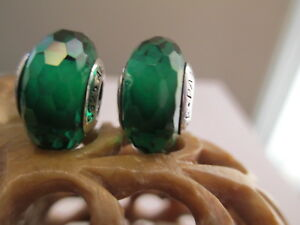 2 Authentic Pandora Silver 925 Ale Fascinating Green Murano Glass Beads Charms