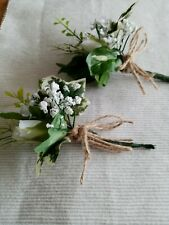 2x WHITE,GREEN.RUSTIC.SHABBY.BUTTONHOLES WITH LEAF/WEDDING PARTY.GUESToccassion