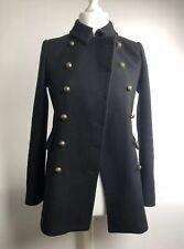 Zara militar abrigo negro, talla S, botones de oro, bolsillos delanteros