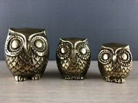 Set of 3 Cute Vintage Polished Brass Owl Figures / Statues / Ornaments gift rare