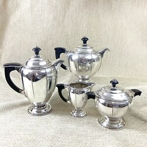 Christofle French Art Deco Silver Plated Tea Set Teapot Coffee Pot Ebony Wood