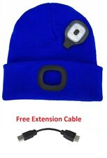 Blue Beanie Hat LED With USB Rechargeable Battery Unisex High Powered Light Lamp