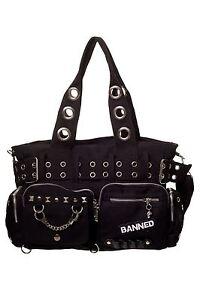 Banned Black Handcuff Steampunk Alternative Gothic Loop Handbag
