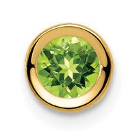 14k 6mm Peridot bezel pendant New Charm Yellow Gold