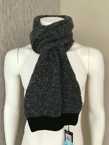 TED BAKER CHARCOAL GREY OAKS DONEGAL SCARF MADE IN UK BNWT