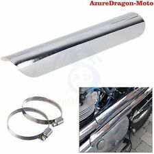 Chrome Heat Shield Guard Exhaust Muffler Pipe Cover For Harley Custom Chopper