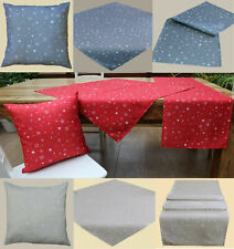 STERNE Tischdecke Tischläufer Kissenhülle grau rot WEIHNACHTEN Kissen Set Typ366