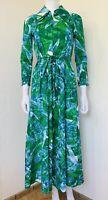 Vtg 70s Blue Green Psychedelic Poly Knit 1/2 Zip Belt Hostess Dress Size S/M EUC