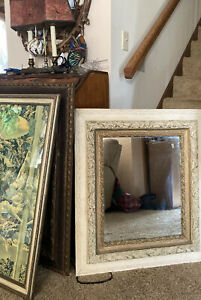 """Antique French Victorian Wall Mirror Gilded White Gesso Wood Frame Baroque 30"""""""
