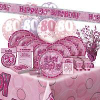 AGE 80/80TH BIRTHDAY PINK GLITZ PARTY RANGE (Balloon/Decoration/Banner/Napkins)