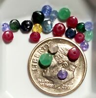 Drilled Beads Natural Sapphire Emerald Ruby Tanzanite loose Gemstone Lot NO DYES