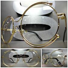 VINTAGE RETRO Style Clear Lens EYE GLASSES Round unique Gold Metal Fashion Frame