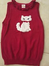 girls GYMBOREE CAT SWEATER VEST knit RED fancy PULLOVER shirt kitty  size 5-6