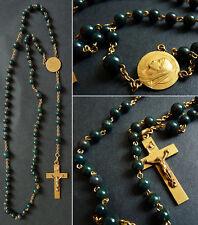 Chapelet ancien perles en jaspe sanguin croix rosaire rosary