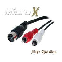 1.5m 5 Pin Din Male Midi Plug to Twin RCA Phono Plugs Screened Cable