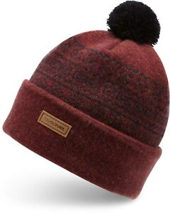 Dakine PENELOPE Womens Wool Blend Cuffed Pom Beanie Deep Garnet NEW Sample