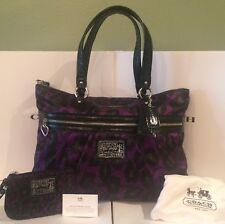 New Coach Poppy F20048 Daisy Ocelot Purple Leopard Print Tote Bag & Wristlet