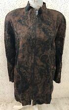 Doris Streich Brown Black Pattern Zip Up Long Line Jacket Size 44