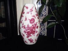 "Pretty Art Pottery Vase Cerise Roses bouquet floral forme ovoïde 8.5"" Great Cond"