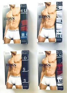 Hugo Boss Multi Color Cotton Stretch Trunk  3 Pack For Men