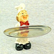 "Kitchen Restaurant 11"" Chef w/ Metal Platter Resin Figurine Statue Sculpture"
