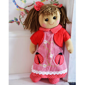 Personalised Powell Craft Red Ladybird Dress Rag Doll - Child's Fabric Doll
